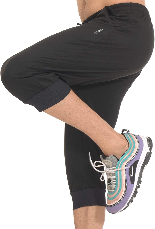 TAIBID Mens 3//4 Workout Joggers Capri Pants Running Training Side Pockets