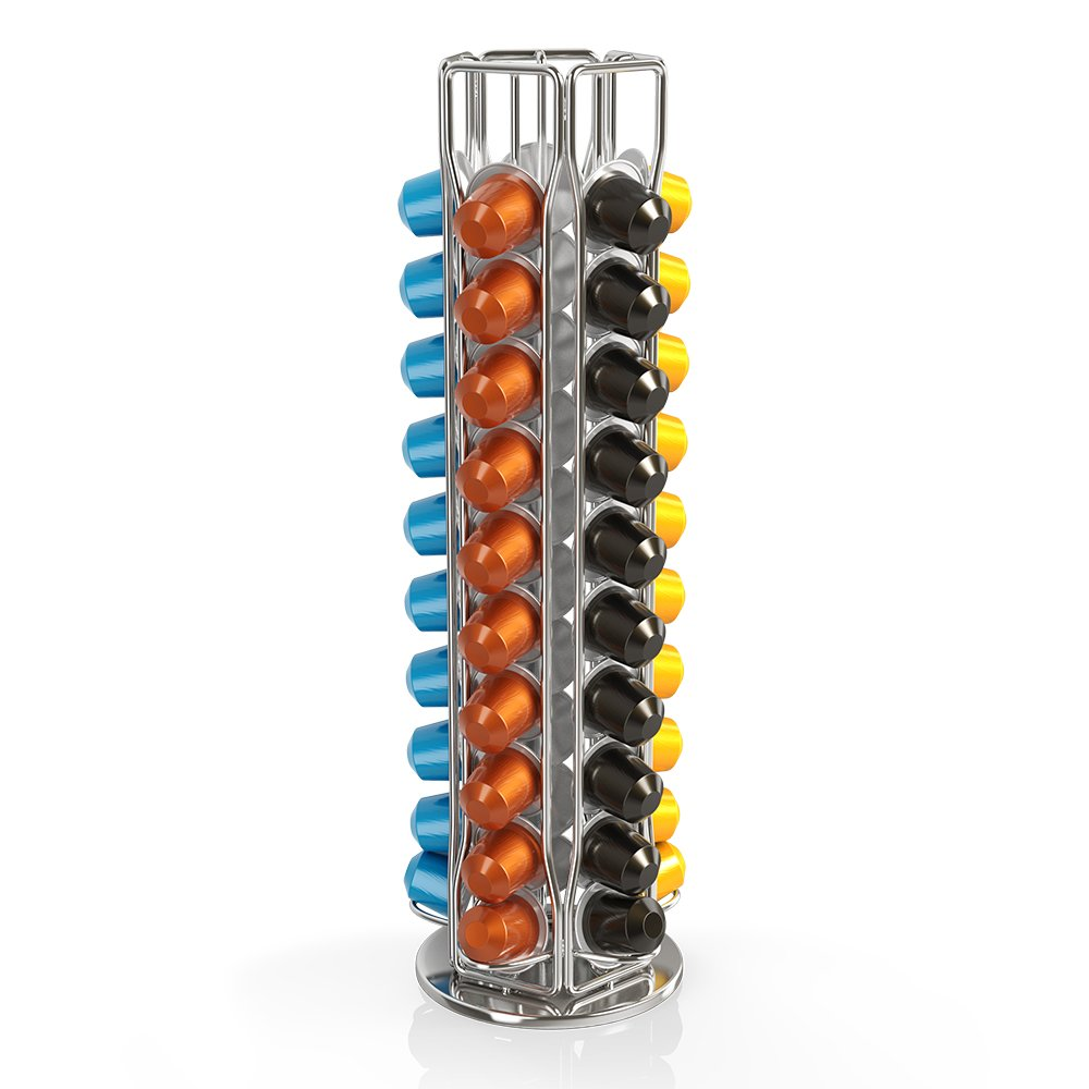 BluePeak Nespresso Coffee Capsule Rack Holder Carousel - Holds 50 Capsules OriginalLine. Elegant and Modern Chrome Finish. 360-degree Rotation. For Citiz, Pixie & Latissima Machines by BluePeak