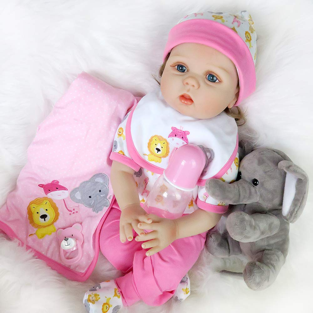 Realistic Reborn Baby Doll Silicone Vinyl Real Life Newborn Pink Outfit with Toy Elephant 22 Inches