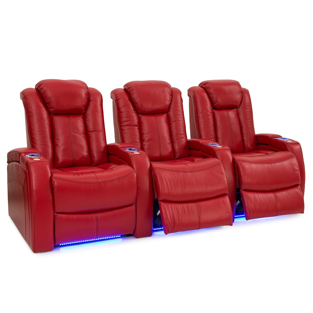 Seatcraft Delta | Leather | Power Recline | Power Headrest | Home Theater Seating | Powered by SoundShaker (Row of 3, Red)