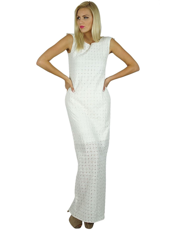 Bimba Frauen Weiß-lang Maxi Kleid Halb Gefüttert Chikan Stoff Klassische Kleid