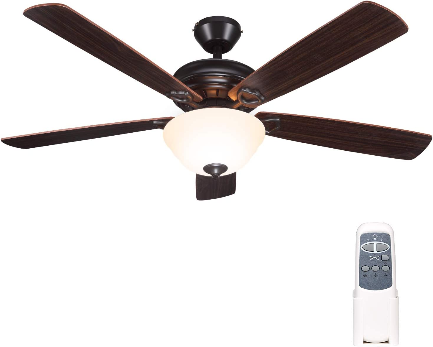 Hykolity 52 Inch Indoor Oil-Rubbed Bronze Ceiling Fan With Light Kits and Remote Control, Classic Style, Lifetime Motor Warranty, Reversible Blades, ETL for Living room, Bedroom, Basement