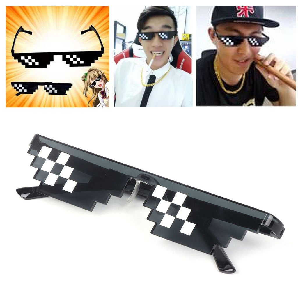 BKID Sunglasses with Mosaic Decor Pixelated Glasses Party Glasses Thug Life Glasses