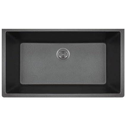 c74971ef9c1 Image Unavailable. Image not available for. Color  MR Direct 848 Black TruGranite  Single Bowl Kitchen Sink