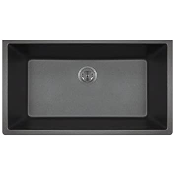 848 Black Undermount Single Bowl Quartz Kitchen Sink - - Amazon.com