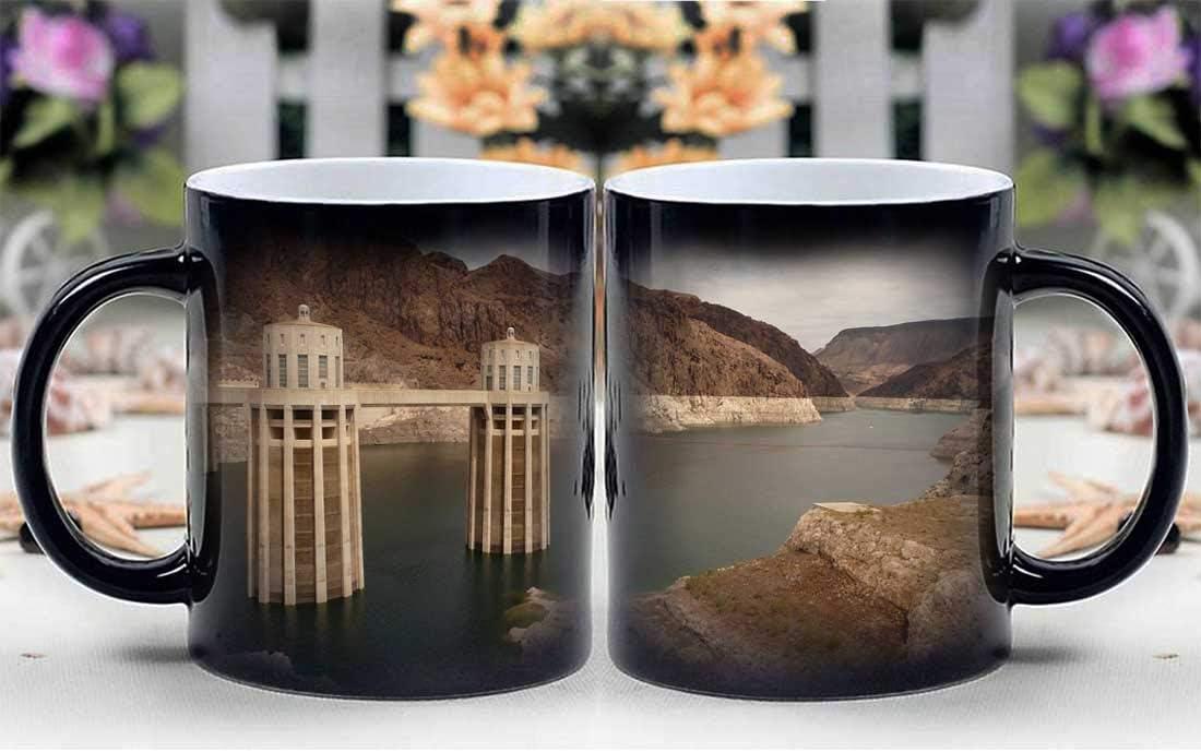 Amymami Personalized Gifts Heat Changing Magic Coffee Mug - Hoover Dam Nevada Arizona Dam Colorado Lake Mead