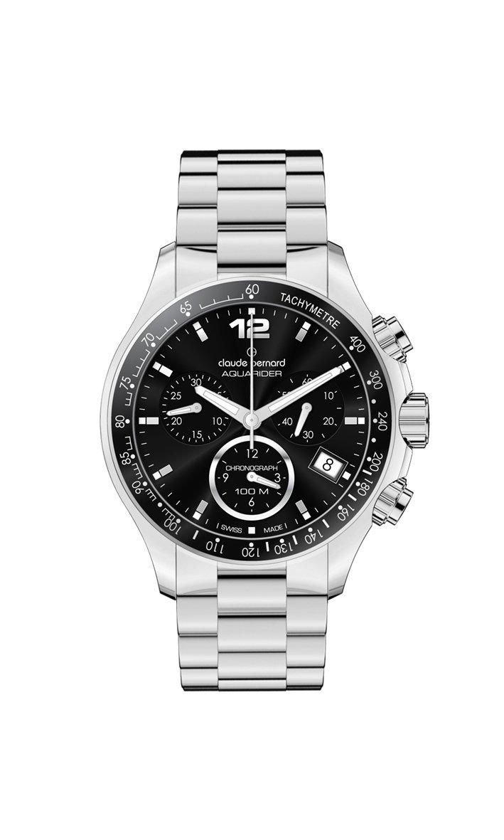 Claude Bernard Women's 10212 3 NIN Aquarider Black Chronograph Tachymeter Steel Watch