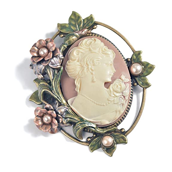 Vintage Style Jewelry, Retro Jewelry Antique Style Cameo and Roses Vintage Brooch $65.00 AT vintagedancer.com