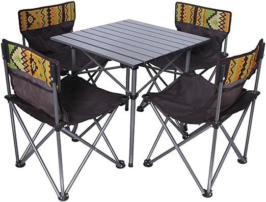 Mesa plegable de camping mesa Juego de sillas y sillas de playa de aluminio plegables para exteriores y cinco juegos de equipos portátiles para la combinación de mesas y sillas de barbacoa: