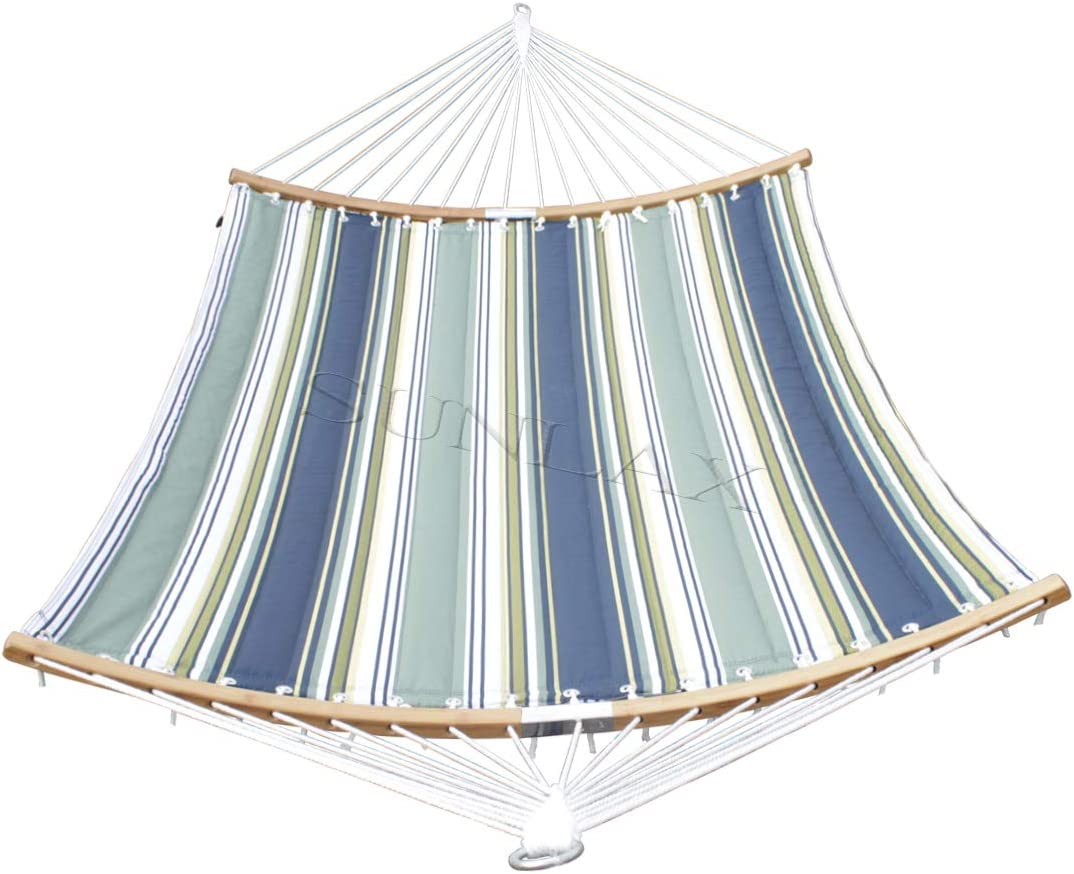 SUNLAX Double Hammock Quilted Fabric Swing with Strong Curved-Bar Bamboo, Detachable Pillow, Blue and Aqua Stripes