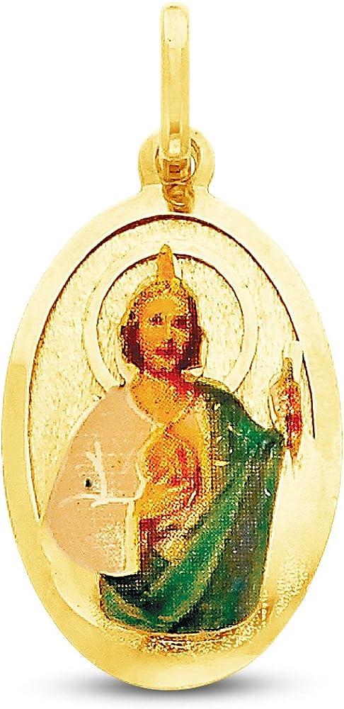 20.5x12.5 mm Sonia Jewels 14K Yellow Gold Religious Saint Jude Enamel Picture Charm Pendant