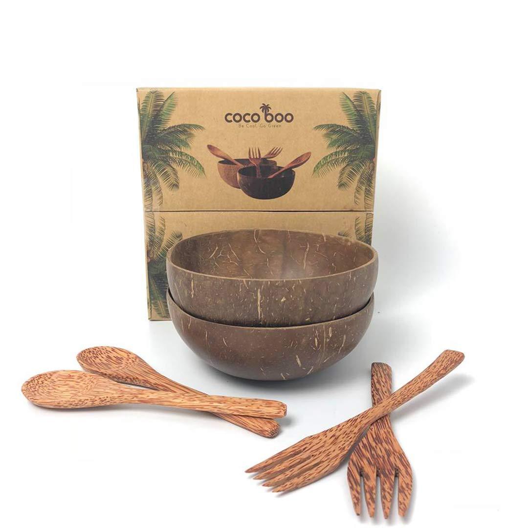 Cocoboo - 100% Natural Coconut Shell Bowls, Artisan Handmade, Vegan Bowl, Salad Bowl, Smoothie Bowl, Gift Set, 2 Bowls, 2 Spoons, 2 Forks