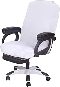 SARAFLORA White Office Chair Covers Stretch Washable Computer Chair Slipcovers for Universal Rotating Boss Chair Middle Size