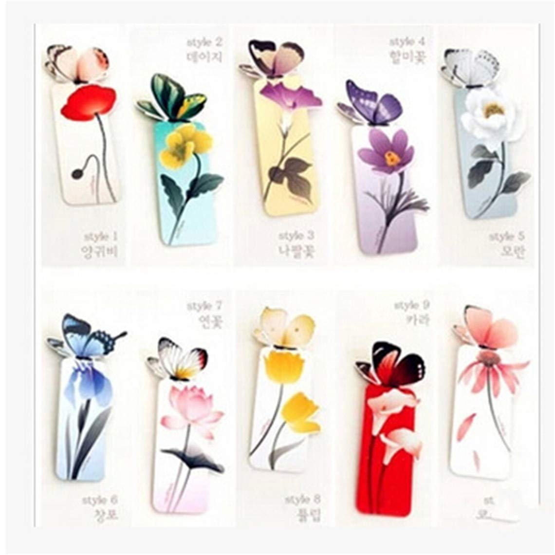 Rurah 5Pcs Cartoon Book Marks Lovely Colored Butterfly Mini 3D Bookmarks Paper Clip Stationery Reading Accessories Office School Supply DIY Creative Gift