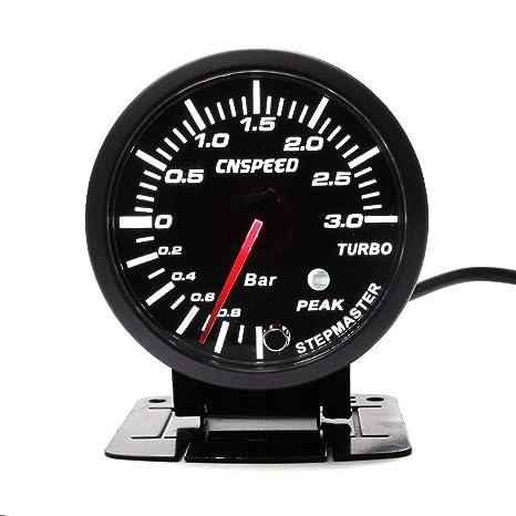 CNSPEED - Medidor de presión de 3 bares, color negro, 60 mm