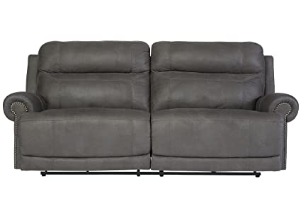 Fine Ashley Furniture Austere Faux Leather Reclining Sofa In Gray Home Interior And Landscaping Ponolsignezvosmurscom