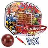 Crown Sporting Goods SBAS-001 Streetball Legends Urban Graffiti 12-Inch Mini Basketball Hoop with Ball and Pump