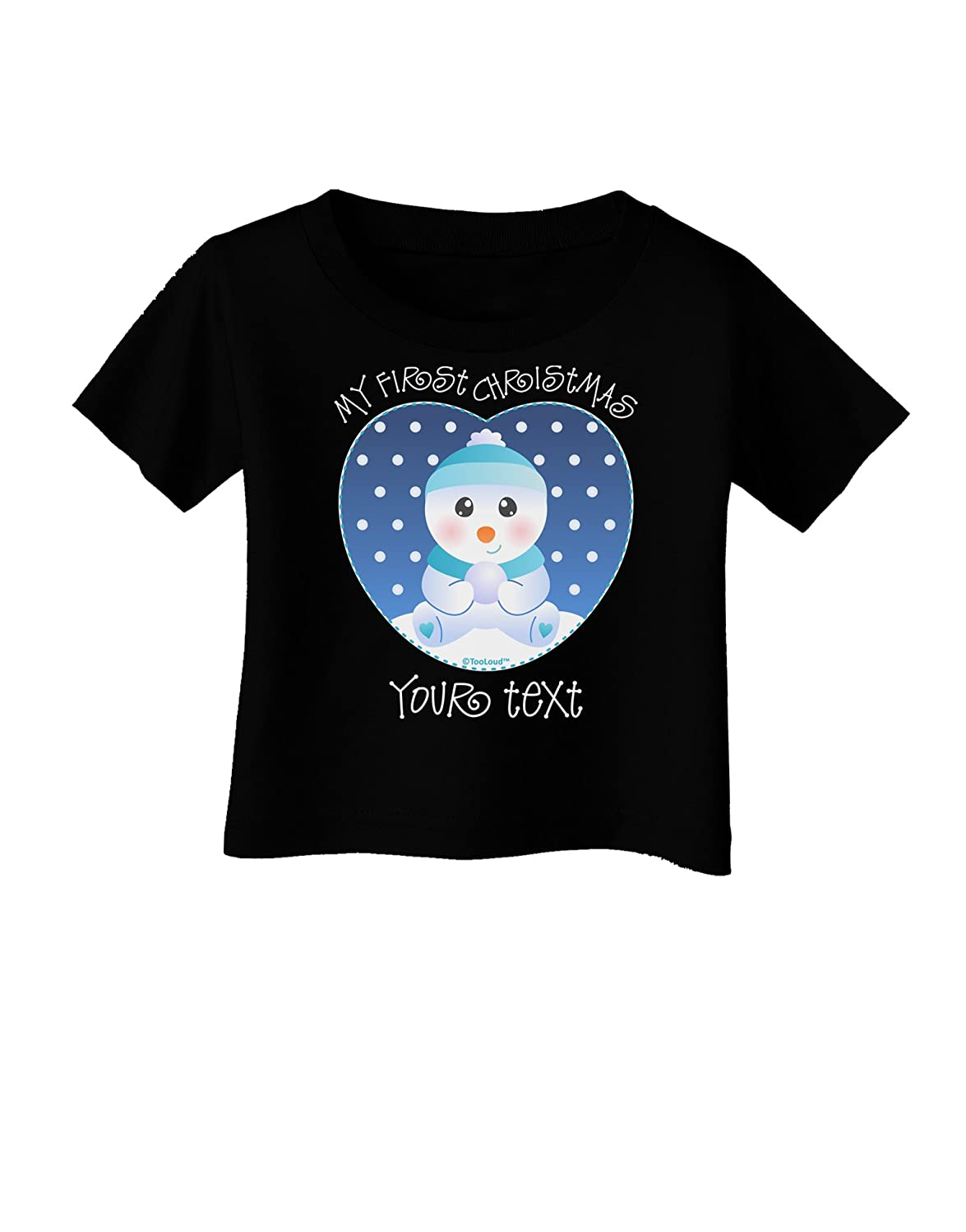 TooLoud Personalized My First Christmas Snowbaby Blue Infant T-Shirt Dark