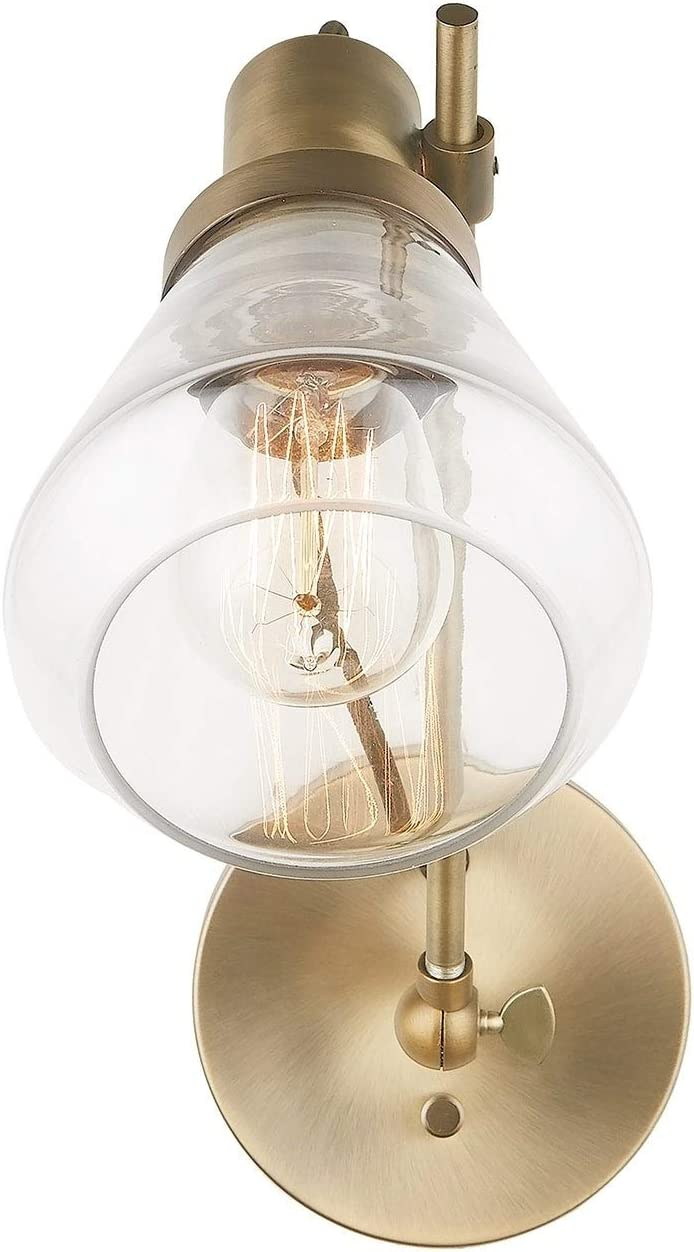 1-Licht Aged Brass Wand Sconce Industrial Glass Metal Dimmable