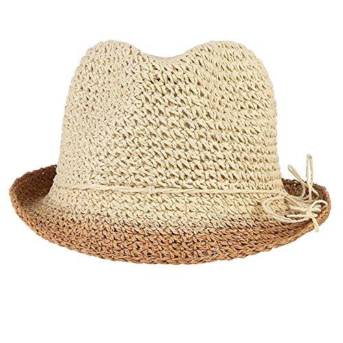 Amazon.com   ALWLj Handmade Crochet Pure Straw Hats Men Summer Sun Hat  Breathable Beach Cap Male Jazz Caps Panama Hat Folding Floppy Caps   Sports    ... 6664166237a5
