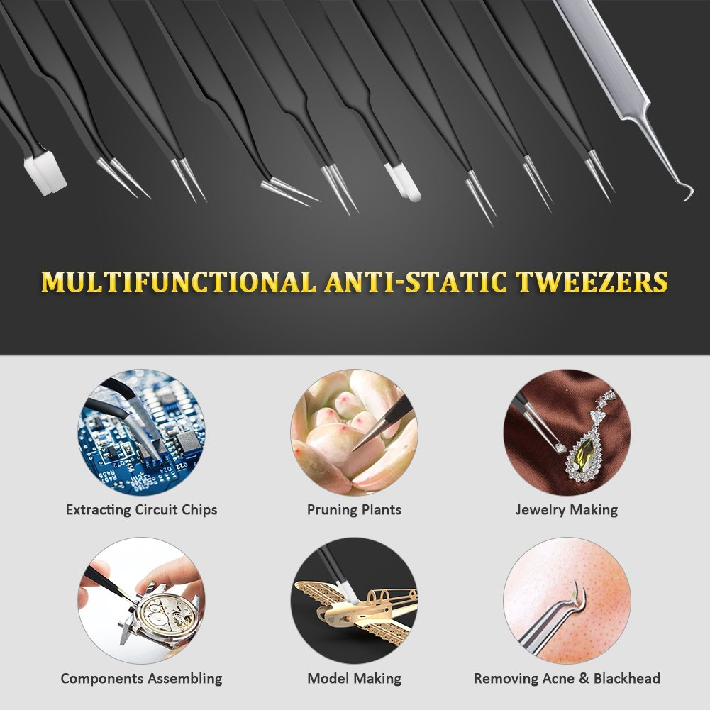 Anti-Static Precision Tweezers Set,10 Pack ESD Tweezer Kit Stainless Steel Tweezers, Non-magnetic Curved Tweezers for Craft, Jewelry, Electronics Repair, Soldering, Laboratory Work by MEPOTI (Image #2)