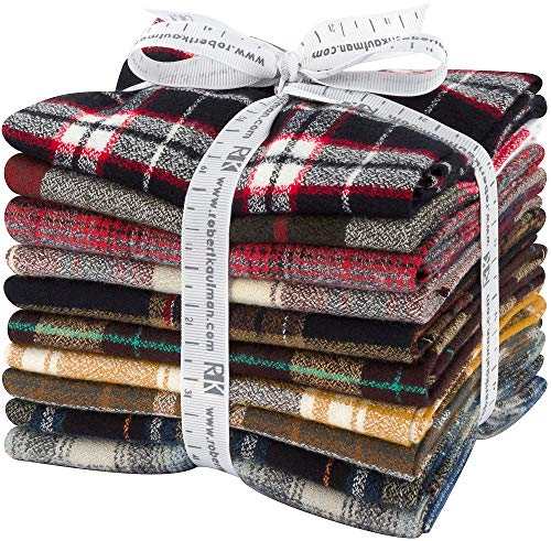 Studio RK Mammoth Flannel Fat Quarter Bundle 10 Precut Cotton Fabric Quilting FQs Assortment Robert Kaufman FQ-1389-10