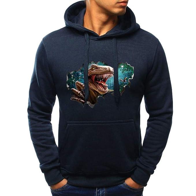 Patrón de impresión de Dinosaurio Coloreado para Hombre en 3D Espesar suéter Sudadera con Capucha de Internet: Amazon.es: Ropa y accesorios