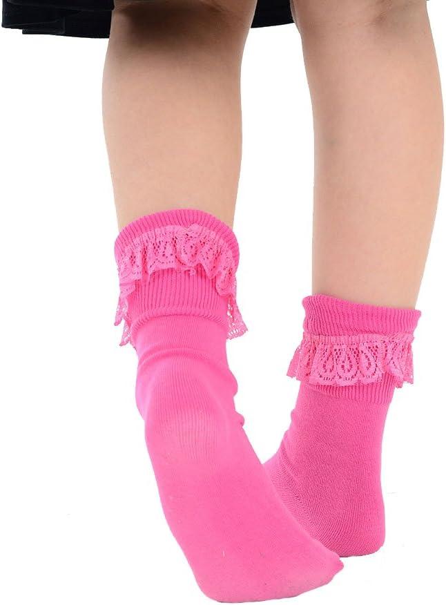 Kids Cotton Rich Fancy Coloured School Frilly Socks