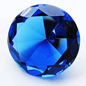"""Zoogamo 3"""" / 80 mm Dark Blue Diamond Shaped Glass Crystal Paperweight – Home Office Decor & Valentine's Day Gift Wedding Favors Centerpieces Decoration with Gift Box"""