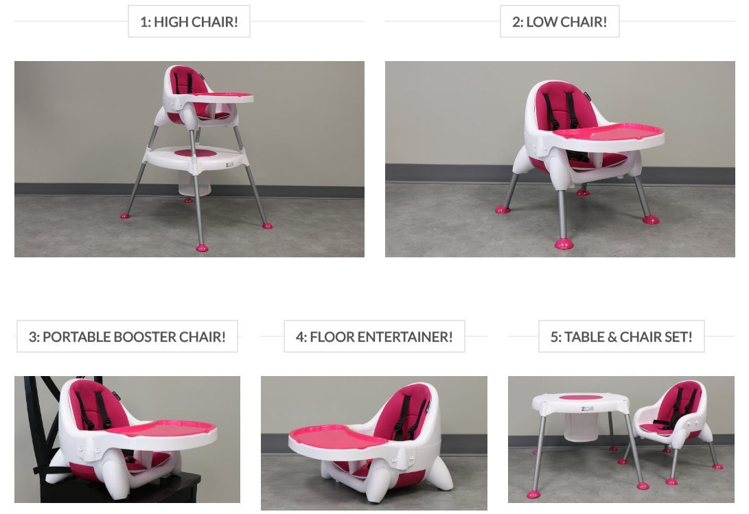 Image result for zoe 5-in-1 convertible high chair amazon