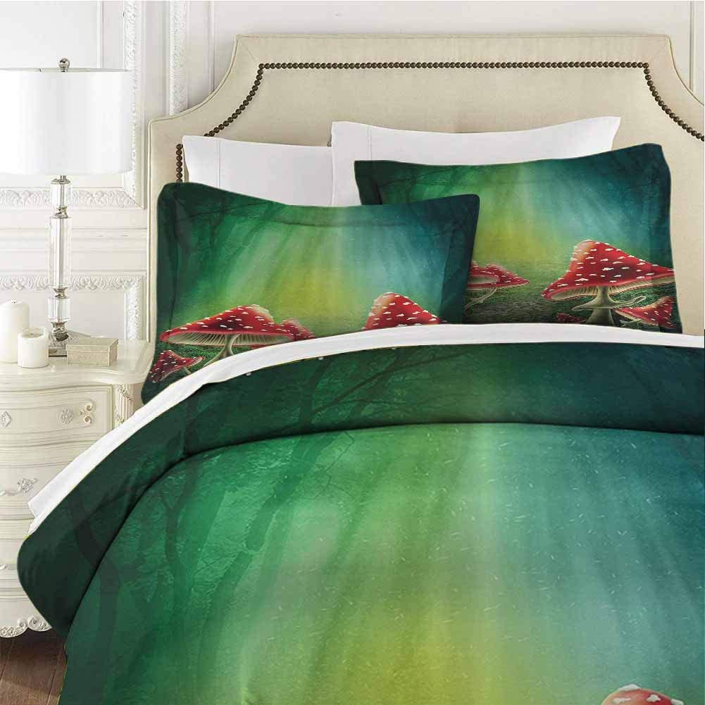 QIAOQIAOLO Red Green Mushroom Bedding Sets California King, House with a Garden of Flowers Balloons Floral Striped Circus Tent Image Bedding Set All Season Quilt Set Dorm Bedding Red Green Beige