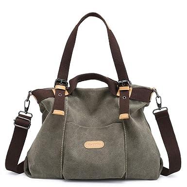 96b37b2bc68cb TianWlio Handtasche Damen Leinwand Handtasche Lässig Geldbörse Tasche top  Griff Handtaschen Crossbody Bags Frauen Armeegrün