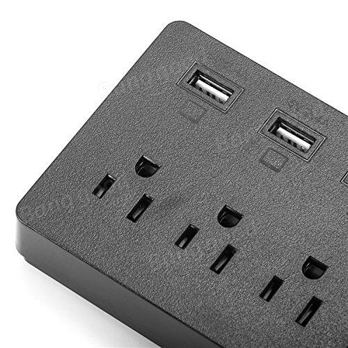 ELE YA30WS-6AU6U US 6 Outlet Socket Power Strip Adaptor with 6 USB Charging Ports - Tools & Home Improvement Switches & Sockets - (Black) - 1 x ELE YA30WS-6AU6U US Plug Socket by Unknown (Image #2)