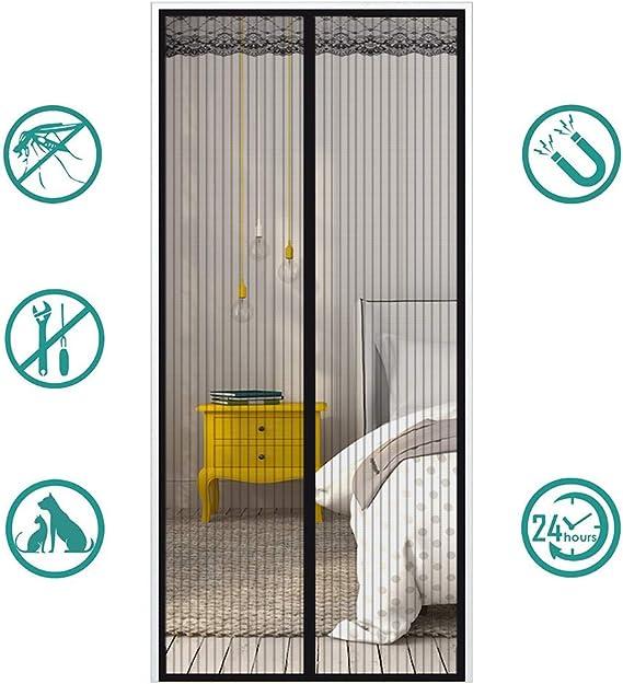 MeetBeauty Mosquitera Puerta Magnetica Corredera Cortina Mosquitera Magnética para Puertas Cortina de Salón de Estar la Puerta del Balcón Puertas, Negro, 90 x 230 cm: Amazon.es: Hogar