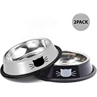 Cat Bowls Stainless Steel Pet Cat Bowl Kitten Rabbit Cat Dish Bowl with Cute Cats Painted cat Food Dish Easy to Clean Durable Cat Dish for Food and Water (Black+Grey)