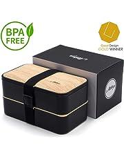 Atthys Lunch Box Bambou Noir | Bento Japonais Design avec 3 Couverts | Bento Box 2 Compartiments Hermétiques 1200 ML | Micro-Ondes & Lave-Vaisselle | Boîte Déjeuner Bois Adultes ou Enfants Premium