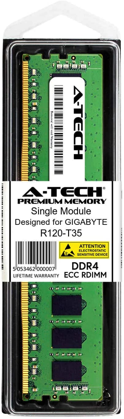 Server Memory Ram AT385278SRV-X1R8 A-Tech 16GB Module for GIGABYTE R120-T35 DDR4 PC4-21300 2666Mhz ECC Registered RDIMM 1rx4