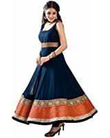 Active Women's Georgette Anarkali Dress Material (Semi-Stiched-Maroon)