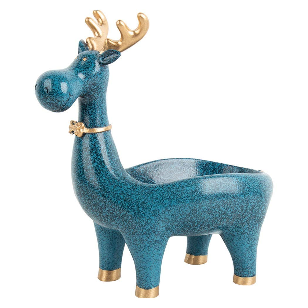 HONGNA Nordic Style Creative Lucky Deer Decorative Ornaments Home Accessories Living Room Entrance Porch Shoe Key Storage Box 221323cm (Color : Blue)