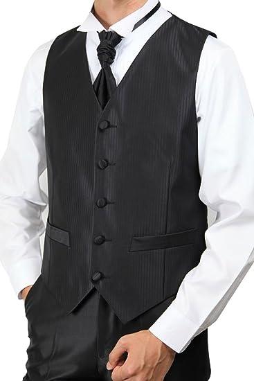 4ad6bc8148cf2 ベスト アスコットタイの2点セット ブラック 黒 結婚式 ウエディング 二次会 パーティ グルームズマン タキシード