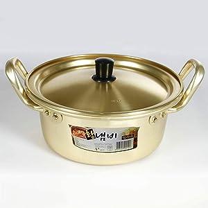Korea Ramen Pot Noodle Pot Fast Rapid Noodle Cooker Aluminum Hot Pot with Lid Soup Pot for Soup Noodle Egg Lightweight Protable Camping Cookware for Shin Ramyun Gold Diameter 14 cm (6 in