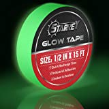 Starrey Glow in The Dark Tape 1/2 in X 15 FT Waterproof photoluminescent/Luminescent Duct Tape Stickers for Halloween Party Clothes, Floor,Steps,Exit Sign