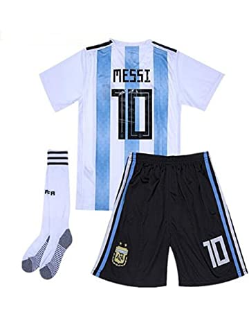 88f515732 Goldenhetai 2018 World Cup Soccer Team Argentina Messi 10 Kids Youth Home  Jersey Color White