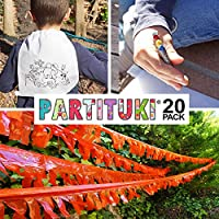 Partituki Lote de 20 Mochilas Infantiles para Colorear, 20 Sets de Ceras de Colores y una Guirnalda (Color Aleatorio) de 20 m Detalles de Fiestas de ...
