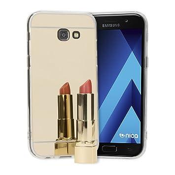 NALIA Funda Espejo Compatible con Samsung Galaxy A3 2017, Protectora Movil Carcasa Silicona Ultra-Fina Bumper Mirror Case, Goma Cubierta Telefono ...