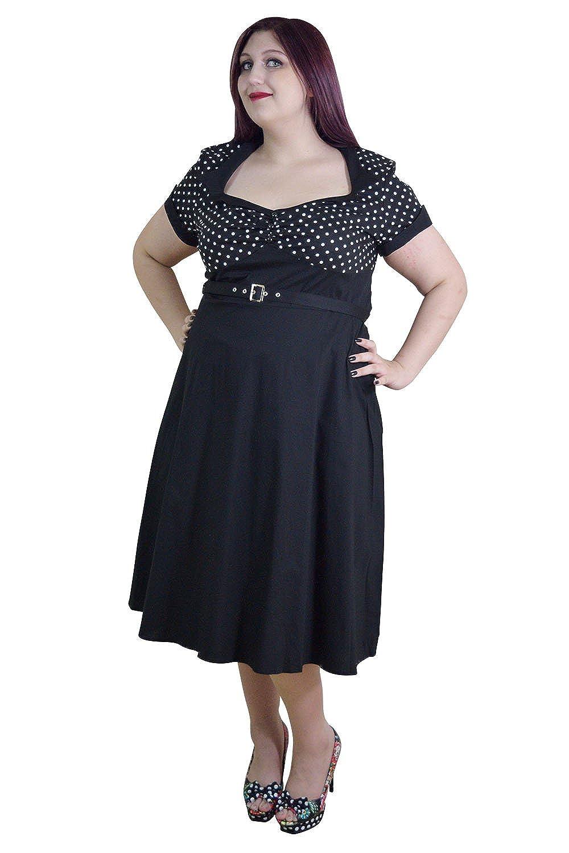 Skelapparel Plus Size Vintage Retro Design Polka Dot Flare Party Dress
