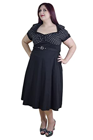 Skelapparel Plus Size Vintage Retro Design Polka Dot Flare Party Dress