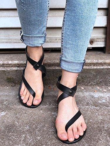 Chaussures Plates Flops Peep Noir Plage Plates Roma Tongs Cuir Flip Minetom Sandales Ouvertes Gladiator Femmes Rétro 01 D'orteil Toe ZEZA0w
