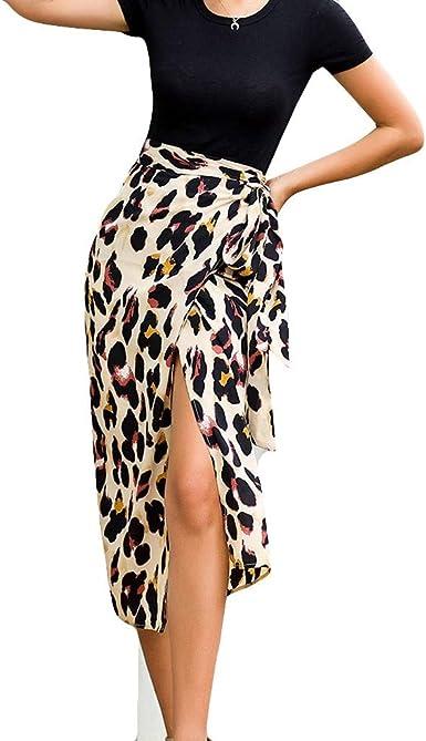 beautyjourney Falda de Leopardo Dividida, Falda de Cadera Bodycon ...