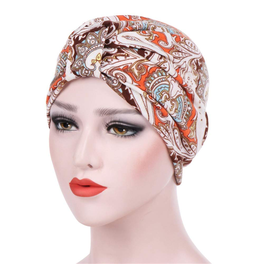 Kimloog Womens Boho Print Stretch Cotton Turban Hat Chemo Sleep Caps(B)